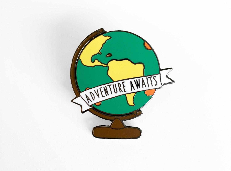 Adventure awaits globe enamel pin world map globe pin description a travel inspired world globe sciox Images
