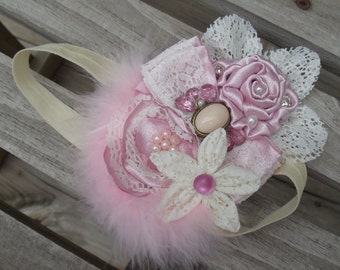 Over The Top Kanzashi, Rosette, Vintage, Victorian, Rose Pink & Cream Headband with Feathers