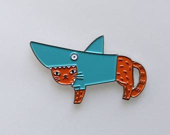 Shark cat pin
