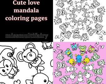 coloring pages instant download,Cute Love original hand drawn coloring page mandala style,Valentines day