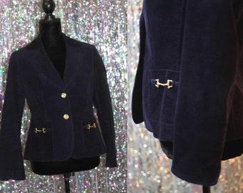 Talbots Petites Cotton Navy Blue Blazer w/ Gold Buttons (8 Petite) *Excellent Condition