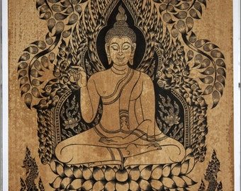Thai traditional art of Buddha by printing on sepia paper