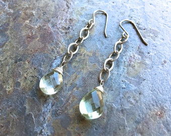 Green amethyst silver dangle earrings