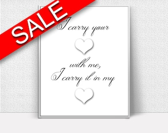 Wall Art I Carry Your Heart Digital Print I Carry Your Heart Poster Art I Carry Your Heart Wall Art Print I Carry Your Heart  Wall Decor I