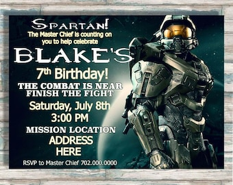 Halo Birthday Invitation - Video Game Party - Boy or Girl Birthday - Master Chief - Printable Invite