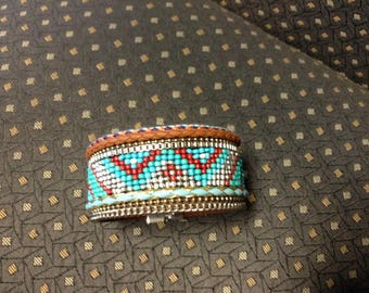 Beaded leather southwestern look bracelet with magnetic clasp