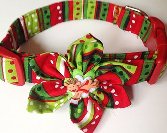 Red & Green Striped Christmas Flower Collar for Dogs and Cats with Polka Dots