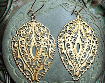 GOLDEN TEMPLE Filigree Earrings Dangle Bohemian Jewelry