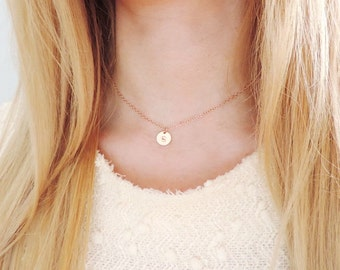 Rose Gold Filled Initial Choker Necklace, Choker Necklace, Personalized Necklace, Bridesmaid Necklace, Initial Choker Necklace