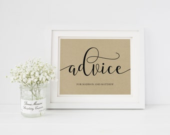 Wedding Sign Template | Advice Sign | Wedding Sign | Printable Wedding Sign | 5x7 & 8x10 | EDN 5410