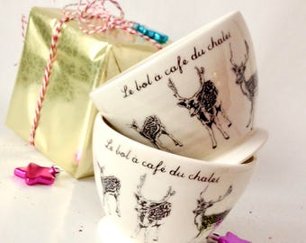 Coffee bowls handmade and handtrown made of porcelain with a french expression (price for two)