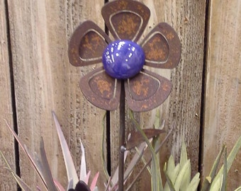 Garden Double Petal Jumbo Flower - w/glass - 10 to 18 inches tall