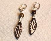 Tiger eye earrings, Pearl...