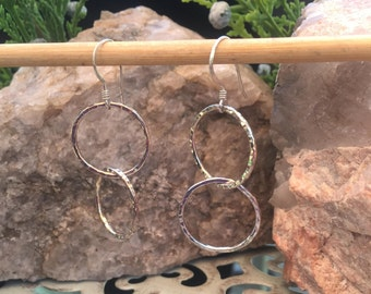 Hand Forged Sterling Silver Circles of Love Earrings