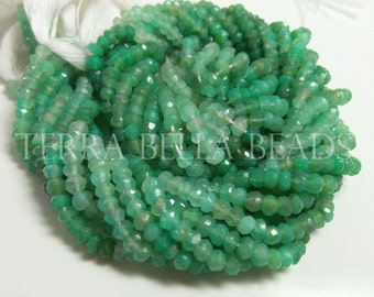 """13"""" strand shaded green CHRYSOPRASE faceted gem stone rondelle beads 3.5mm - 4mm"""