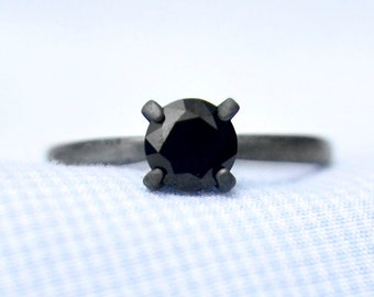 Black Spinel Ring, Promise Ring, Black Diamond Alternative, Bridesmaid Gifts, Engagement Ring, Wedding Ring