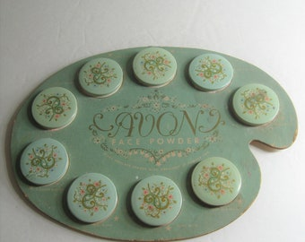 Vintage Avon Face Powder Artist Palette Board, 9 Sample Tins, Advertising Display Collectible, Sales Prop, 1950's Powder Box Kit