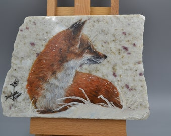 Fox (Original Oil Painting on Granite)