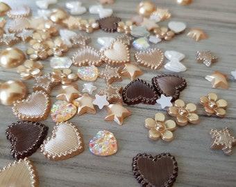 Set of mixed random rhinestones and flatback resins embellishments for scrapbooking, cardmaking GOLD BROWN