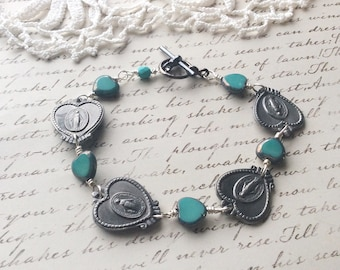 Saints and Hearts Bracelet - vintage assemblage bracelet turquoise bracelet found object jewelry