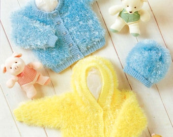 "Baby eyelash fluffy knitting pattern pdf hooded cardigan jacket and hat 12-22"" DK download"
