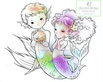 Digital Stamp - Instant Download - The Gift - Mer-boy Giving Mer-girl a Pearl - Fantasy Line Art for Cards & Crafts by Mitzi Sato-Wiuff