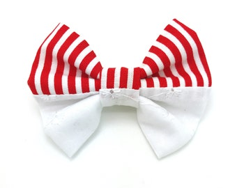 Independence Day Hair Bow, Red and White Striped Hair Bow, Fourth of July Hair Bow, Patriotic Hair Bow