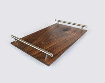 Modern Black Walnut and Brass Serving Tray / Cheese Board
