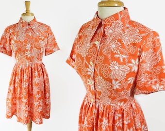 60s 70s Shirtwaist Dress, Day Dress, Rockabilly, Housewife, Petite