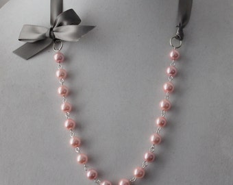 Pink Pearl and Charcoal Gray Ribbon Bow Necklace