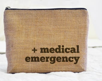 Medicine Dopp Kit, Burlap Pouch Kit, First Aid Dopp Kit, Medicine Bag, First Aid Bag, Burlap Toiletry Bag, Pharmacy Pouch, Medicine Pouch