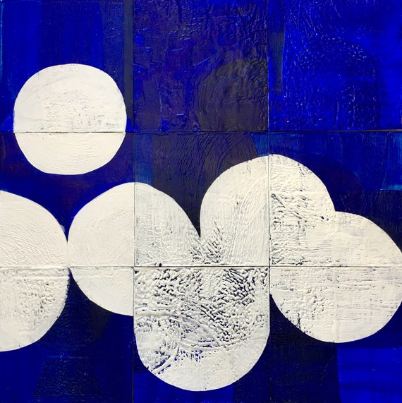 Fade Away and Radiate, blue and white abstract painting