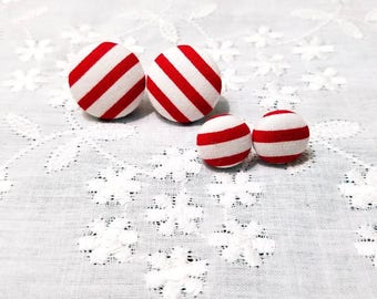 Christmas Earrings/Candy Cane  Earrings/Red and White Stripe/Christmas Jewelry/Candy Cane Jewelry/Holiday/Fabric Earrings/Christmas Gifts