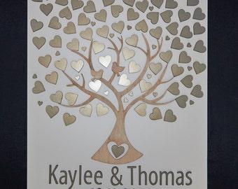 Bruiloft gast boek alternatieve 3d gast boek bruiloft boom gast boek hout aangepaste unieke gast boek harten gepersonaliseerde rustieke gastenboek
