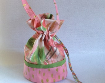 Sock Knitting Project Bag, small drawstring bag, pink and metallic gold Iza Pearl fabric,  organizer for knitting, crocheting projects