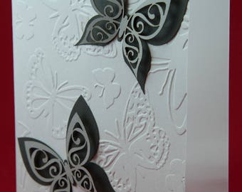Embossed Cards, Set of 5, Laser cut, Butterflies