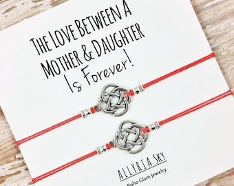 Set of Two Mother Daughter Charm Bracelets with Card | Mom and Daughter Gift Jewelry | Matching Bracelets | Step-Mother, Step-Daughter