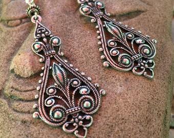 Victorian filigree chandelier earrings, silver oxidized dangling earrings, large filigree earrings, lightweight, ornate