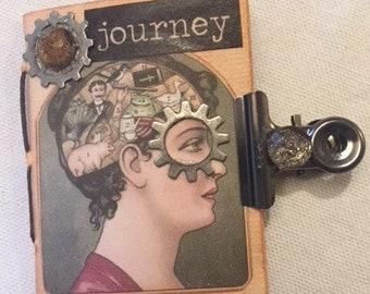 Mini Steampunk Junk Journal Journey Tea Dyed Paper