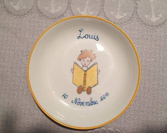 Plate customizable baby/child: first name and date of birth