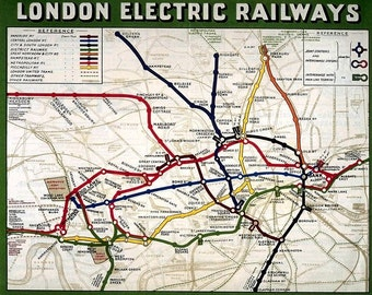 vintage london underground electric railway travel map art print poster picture a3 a4