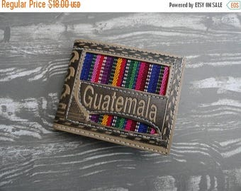 SALE Guatemala Tooled Leather Wallet - Woven - Multiple compartments