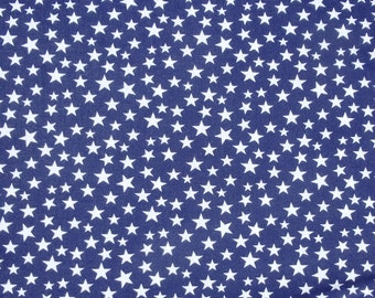 """Blue with White Stars, 44-45"""" Wide Cotton Fabric, Made in U.S.A., American Flag - By the Half Yard"""
