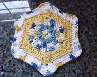 HOT PAD CROCHET Handmade country french blue/yellow