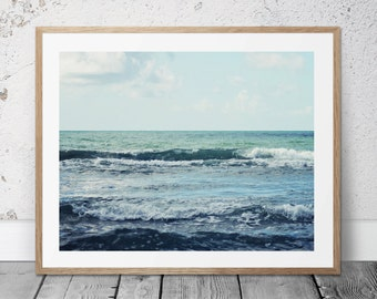 Printable Photograohy, Ocean Photo, Digital Download Art, Coastal Photography, Beach Art, Blue Ocean