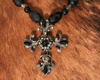 """Victorian gothic cross necklace, black faceted """"gems"""" and crystals"""