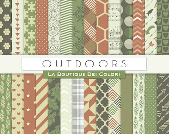 Outdoors Digital Paper. Digital Scrapbook Garden, green and brown paper patterns, Instant Download for Commercial Use