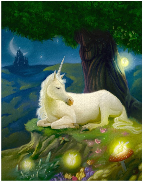 Adorable sleepy Unicorn with Fairies art print on premium matte paper with archival ink // gifts for her // unicorn // Fantasy Art