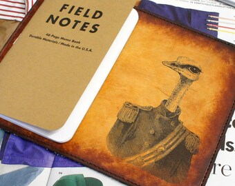 Field Notes Leather Cover - General Ostrich - Customizable - Free Personalization