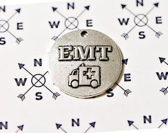 Antique Silver Tone EMT Charm.. First Responder Charms..